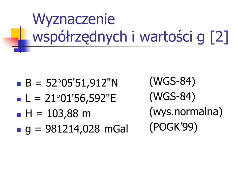 Wyznaczenie współrzędnych i wartości g [2]